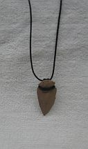 Missing image <154042leatherarrowheadw.jpg> Group: 4042 - LEATHER WRAPPED ARROWHEAD NECKLACE Average size 2.5 - 3